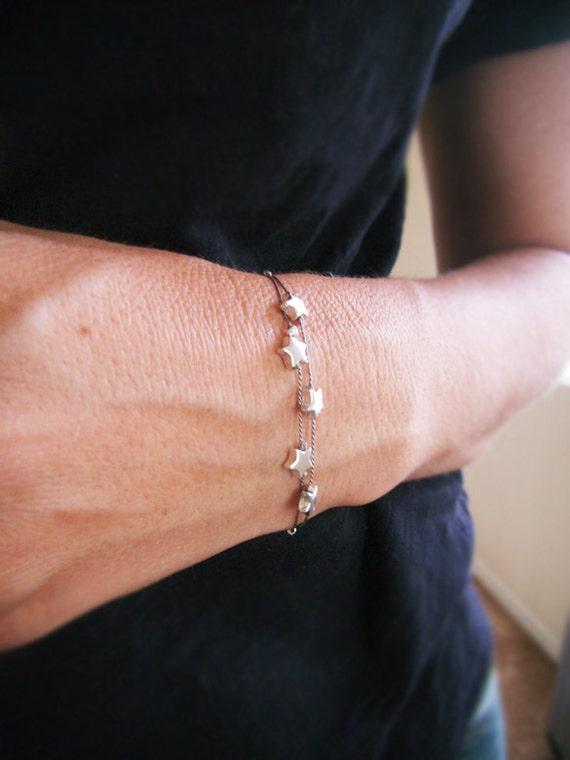 Star Bracelet - Make a Wish - Silver Star Bracelet - Simple Modern - Gray Silk Cord - Wedding Jewelry - Five Star Bracelet