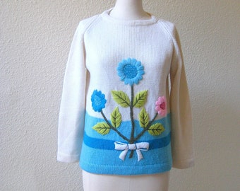 vintage 1960's lovely hand embellished, knitted blue flower wool sweater