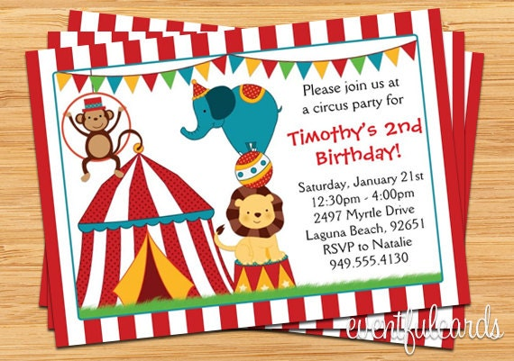 Circus Birthday Party Invitation For Kids - Birthday invitation cards circus