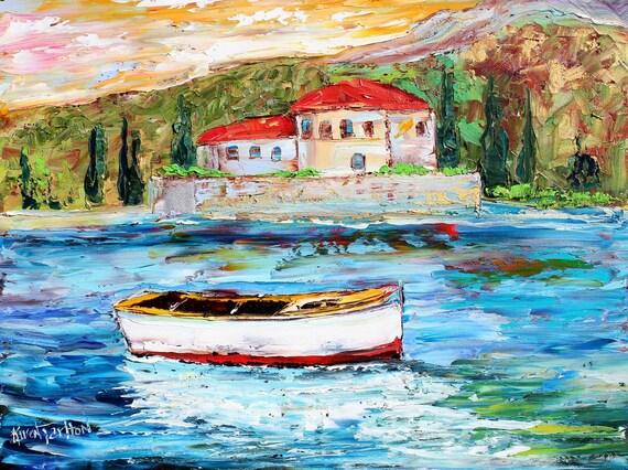 Original ITALY Boats palette knife Oil painting on canvas modern fine art impressionism fine art by Karen Tarlton