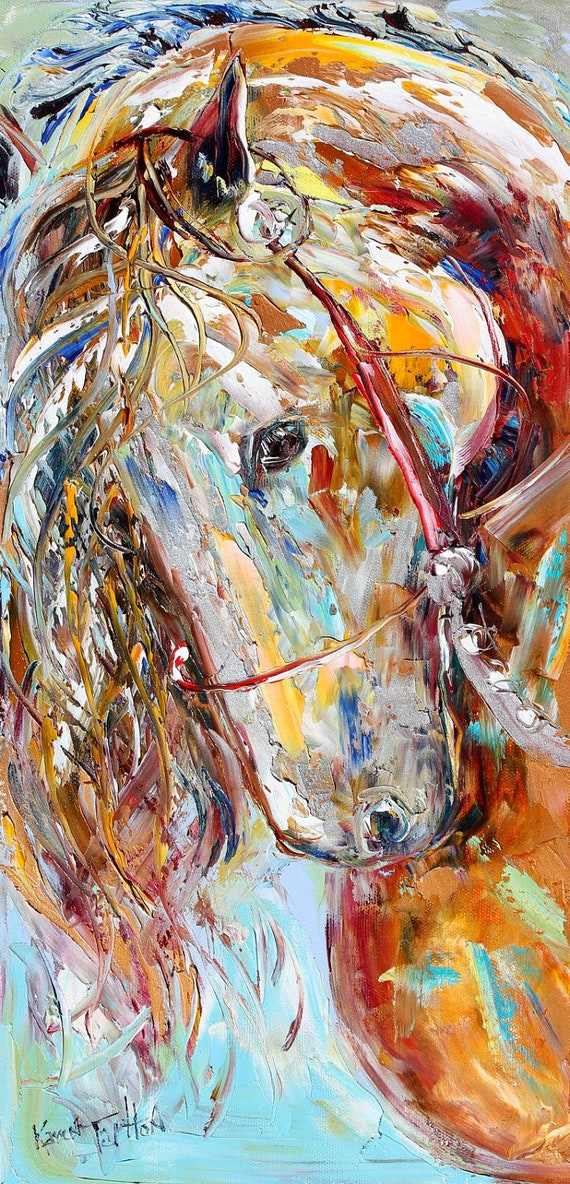 Original Oil painting Wild Horse EQUINE PALETTE KNIIFE Abstract fine art modern Abstract impressionism by Karen Tarlton