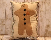 Handmade Primitive Christmas Pillow Gingerbread Man
