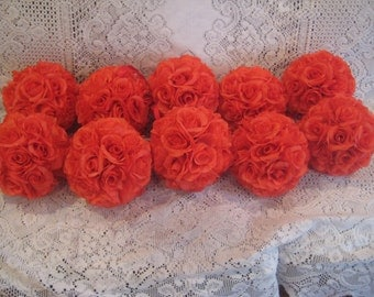 Set of 10 Coral Silk Rose Pomander......