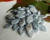 Leaf Beads Czech Glass Leaf Beads Opaque White with Blue & Grey Mottled Picasso 12X7mm (25pcs) NEW