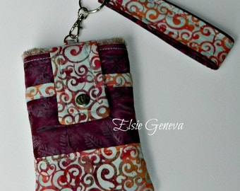 Choose Any Batik Fabric in My Shop or Wine - Pale Blue - Orange Swirls & Leaves Batik Phone Case with Wristlet and Back Zipper Pocket
