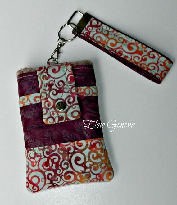 Wine - Pale Blue - Orange Swirls & Leaves Batik Phone Case with Wristlet and Back Zipper Pocket