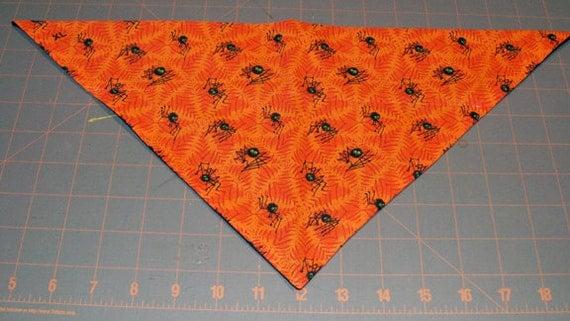 Halloween Dog Bandana - Spiders, orange, webs, fall, autumn, dog costume
