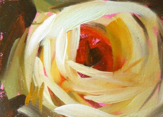 cream rose original painting by moulton aceo