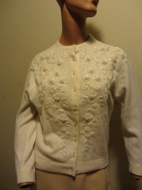 Beaded Angora Cardigan with Silk Lining