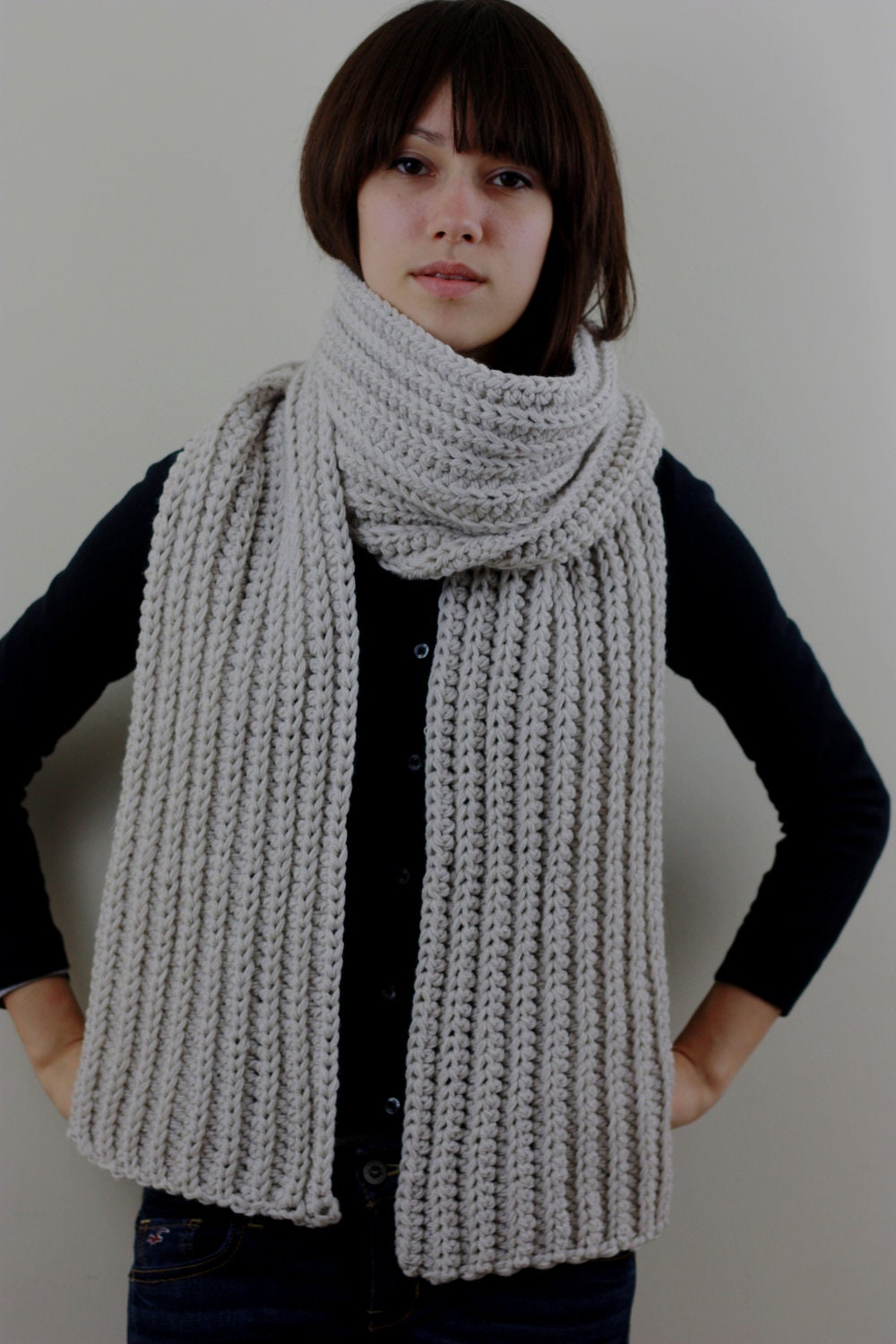sale chunky knit scarf mens fall winter scarf white