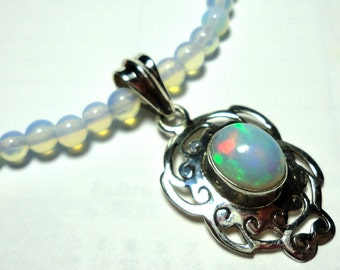 Opal Necklace in Solid Sterling AAA Quality Genuine Fire Opal with Opalite Beads and Sterling Silver