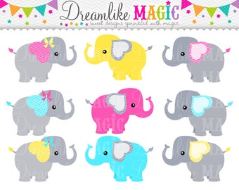 Grey Pink Blue and Yellow Elephants- Clipart for Personal or Commercial Use
