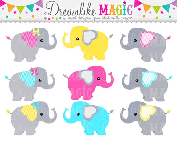 Grey Pink Blue and Yellow Elephants Clipart for Personal or