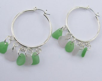 GENUINE Sea Glass Large Earrings Jewelry, Seaglass Earrings, Beach Glass Dangle Earrings, Sea Glass Jewelry