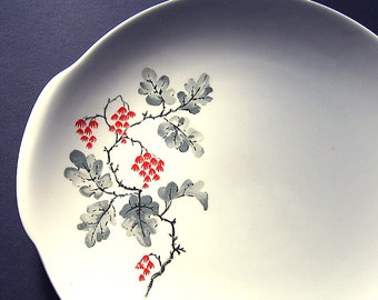 Crown Potteries Co USA Plate, Vintage Cake Plate, Botanical Serving Plate, Vintage Platterm Grey Red Vintage Platter, Berries Floral Plate