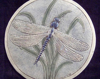 Decorative, relief carved ceramic dragonfly tile
