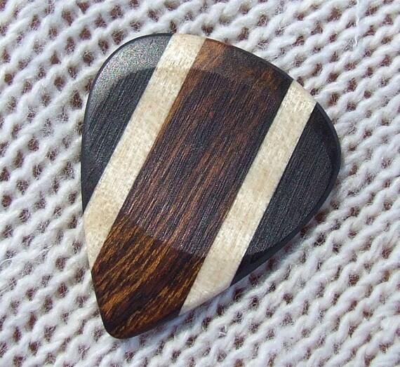 Custom Wood Guitar Pick - Handmade Exotic Arizona Desert Ironwood - Curly Maple and Gabon Ebony Premium Guitar Pick