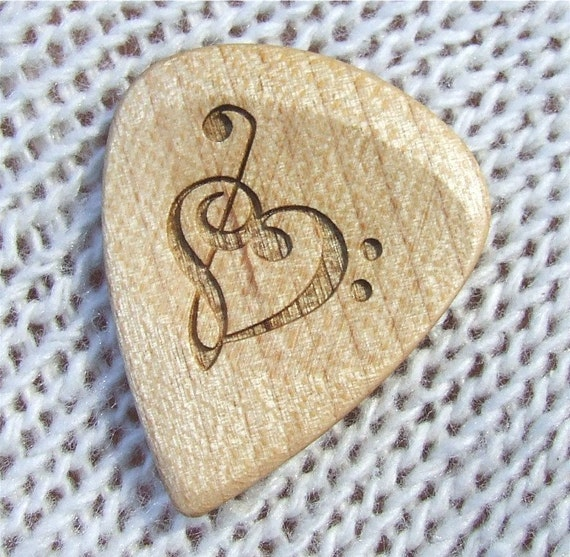 Treble and Bass Clef Heart - Handmade Laser Engraved Hard Maple Premium Guitar Pick