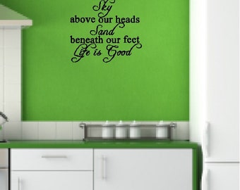 Sky above our heads, Sand beneath our feet..... Beach Wall Quotes Words Sayings Removable Beach Wall Decal Lettering