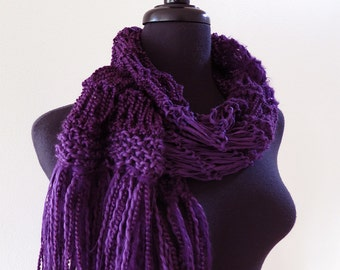 FREE US SHIPPING - Dark Purple Ink Color Handknitted Lacy Scarf with Fringes