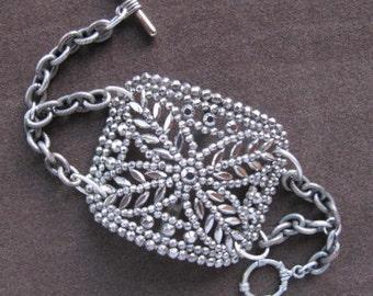 Vintage Cut Steel Shoe Buckle Bracelet Victorian c1910