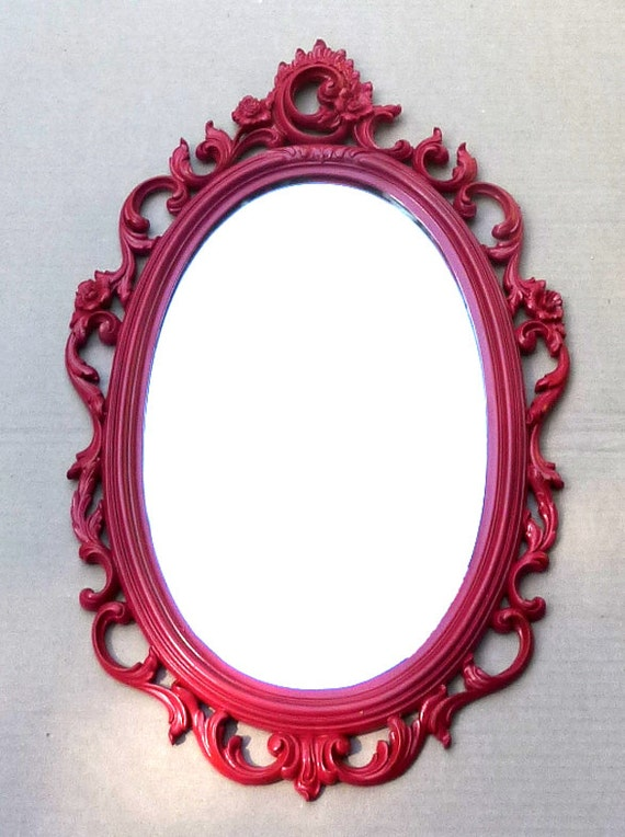 Reserved . . . Large Ruby Red Syroco Mirror . . Shabby Chic, Hollywood Glam . . .  16 x 25 inches