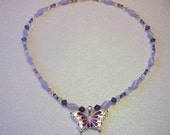 Lavender Butterfly Beaded Necklace - One of a Kind