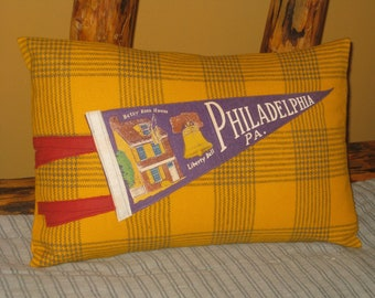 Cabin Camp Pillow Philadelphia Souvenir Pennant Lodge Look Decor Unique Gift Camping Glamping Pillow Mustard Color Gold Plaid