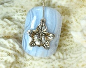 Blue Lace Agate Pendant, Agate and Pewter Pendant, Leaf Pendant