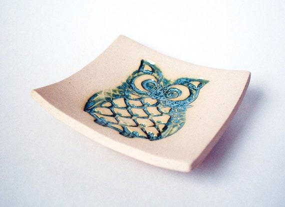 Aqua Owl Soap Dish, Spoon Rest, Jewelry Dish, Key Dish, Ceramic, Pottery, Makes a great gift