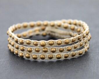 Ivory Brass Triple Wrap Unisex Bracelet Anklet