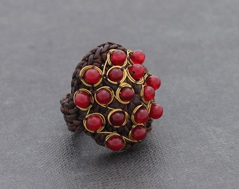 Red Jade Wire Wrap  Cocktail Ring