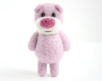 Light pink pocket miniature bear with a deep pink nose