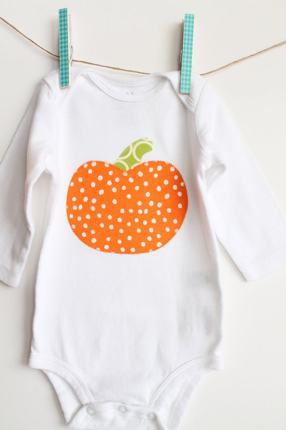 Custom Baby Onesie / Bodysuit, Lil Pumpkin, in Orange Dots and Green Circles, Baby Bodysuit Onesie, Halloween, Size 0-3, 3-6 or 6-12m