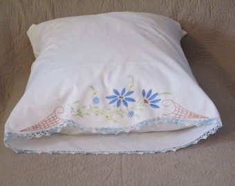 Vintage Embroidered and Crocheted Single Pillowcase