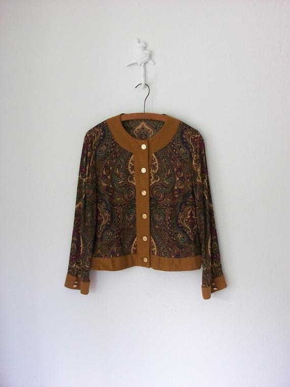 Vintage Gypsy Shirt ... Paisley 1980's Cardigan Jacket ... Medium / Large