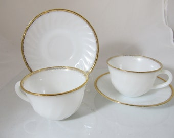 Vintage Anchor Hocking Fire King Cups and Saucers Swirl Pattern Gold Rimmed