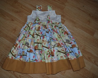 Wildlife Creatures Knot Dress - Ready to Ship size 2T - Only one available