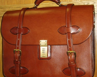 Handmade Bridle Leather Briefcase/Computer Case
