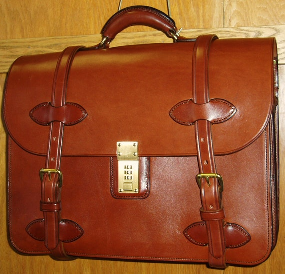 Handmade Bridle Leather Briefcase Computer Case By