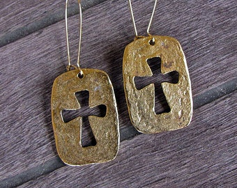 Gold Pewter Bohemian Cross Cut Out Earrings-READY TO SHIP