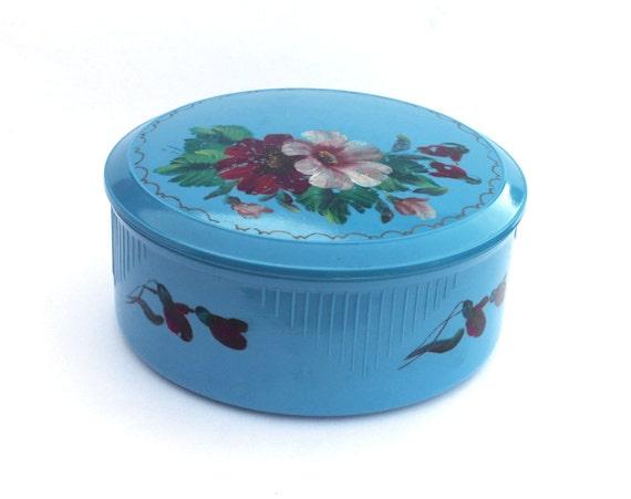 Vintage round box from Soviet Union Russia, blue bakelite round box
