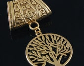 Scarf Pendant - Antique Gold Tree of Life Scarf Jewelry