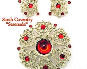 Vintage Sarah Coventry Brooch & Earrings Serenade Demi Parure Early 70s
