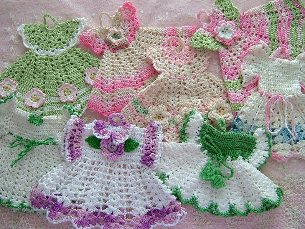 Crochet Pattern For A Doll : Vintage Cotton Crochet Pot Holder Doll Dress