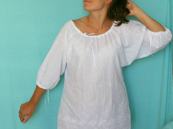 Cotton romantic top in country style Custom plus size top Womens summer top Dolman sleeve top White cotton top Made to order