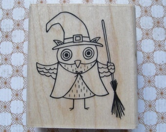 Hazel Witch Owl, Halloween  - A Muse Rubber Stamp