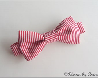 Preppy bow tie collection. Red pinstriped