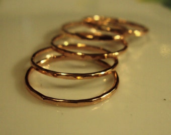 set of 6 , 10kt gold rings in yellow, rose and or white gold, you choose finish, color, and size for each ring