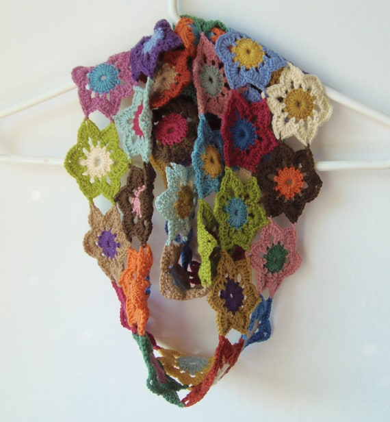 Crochet Patterns Multicolor Yarn : Vintage Colours Crochet Flower Scarf Wool Multicolor